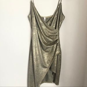 Gold Wrap Mini Dress